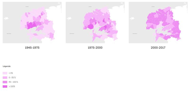 Evolution population sur Pays de Brest 1945 à 2017