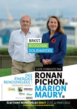 Affiche Brest écologie solidarité Ronan Pichon Marion Maury municipales 2020